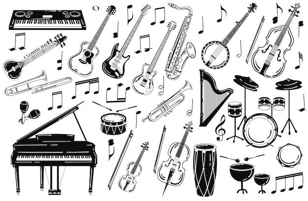 Набор музыкальных инструментов. коллекция стилизованных музыкальных инструментов.