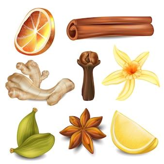Набор натуральных средств и ингредиентов для чая.