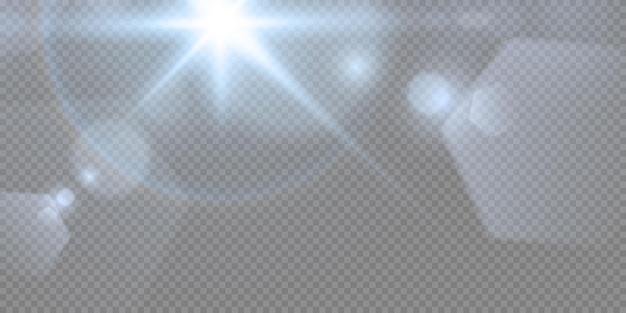 네온 또는 블루 라이트 글로우 플레어 스타 효과 세트