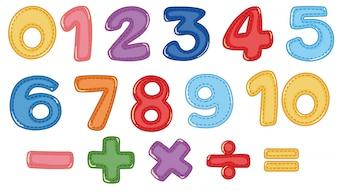 数と数学記号のセット