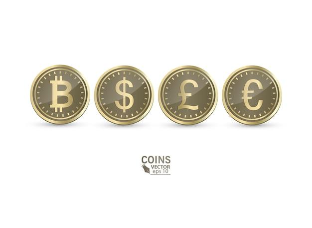 分離されたコインのセット。