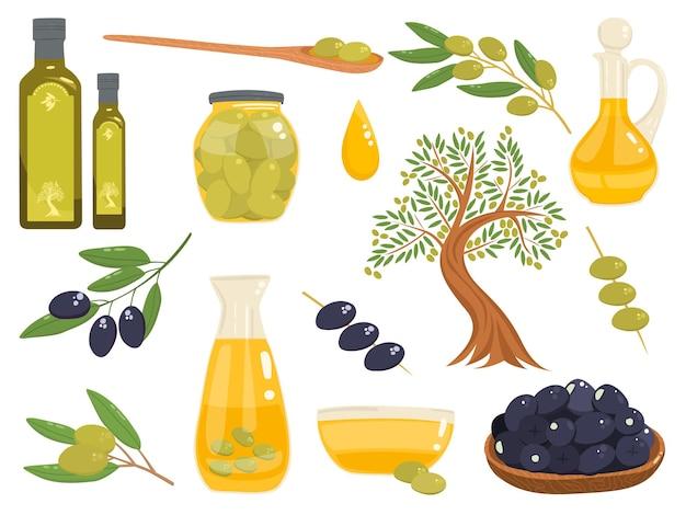 有機地中海オリーブ製品のセット。木、瓶の中の油、オリーブの枝など。