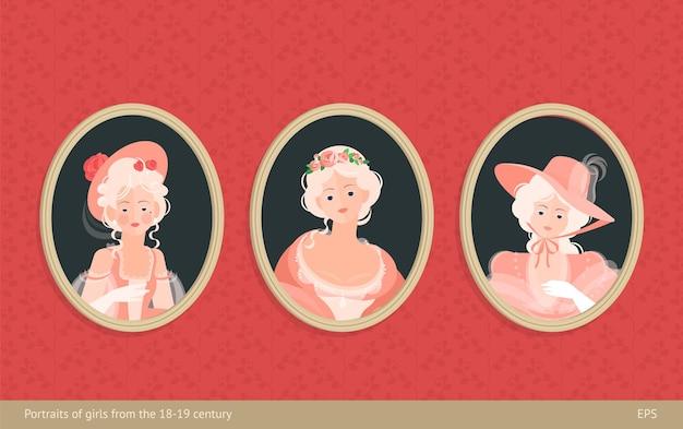 프레임의 그림 세트. 18-19 세기의 드레스를 입은 소녀들. 머리에 귀여운 곱슬 머리. 고귀한 초상화. 빈티지 벽지의 배경. 플랫 스타일의 다채로운 그림