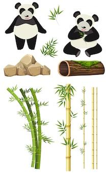 Набор элементов панды и бамбука