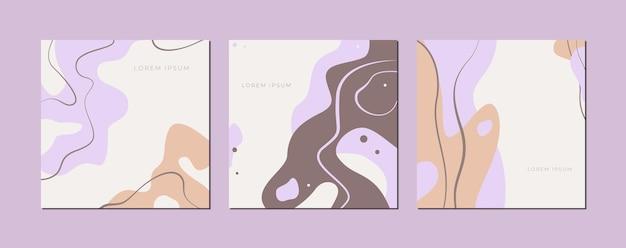 滑らかな線で作られた抽象的なデザインのパステルポスターのセット。ベクトルイラスト。