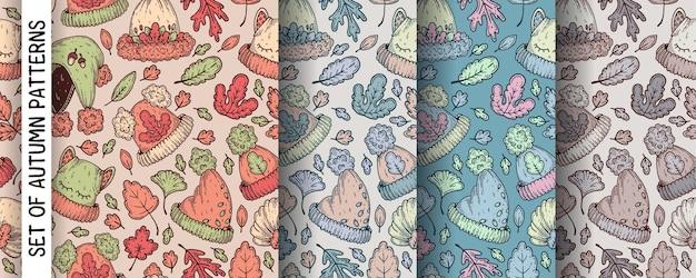 秋の帽子とパターンのセット。
