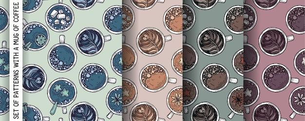 コーヒーマグとパターンのセット。 Premiumベクター