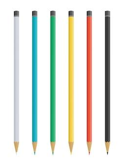 鉛筆のセット。リアルな色のベクトル鉛筆。