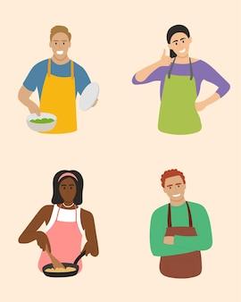 家庭料理が好きな人たち。プレミアムベクトル