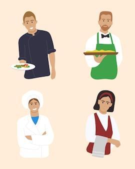 カフェやレストランで働く人々のセット。プレミアムベクトル