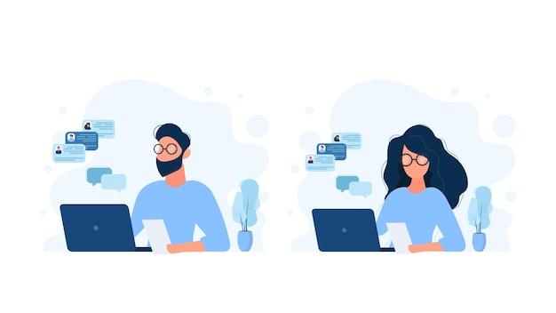 コンピューターで作業している人々のセット。女の子と男性がラップトップで作業しています。