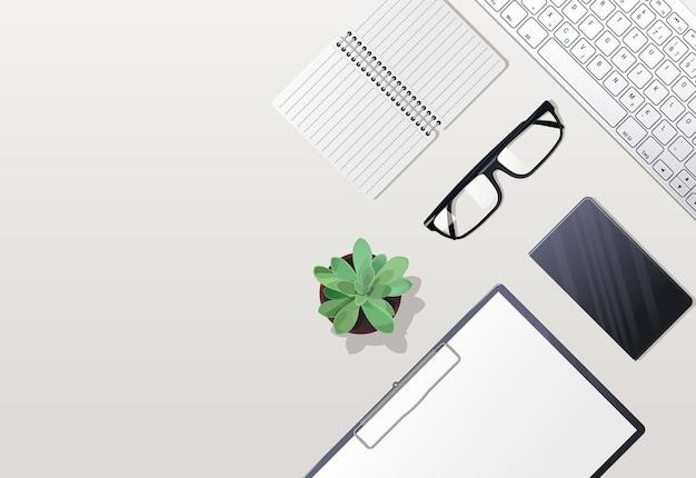 흰색 바탕에 개인 항목의 집합입니다. 키보드와 안경. 태블릿이있는 책. 노트북 컴퓨터와 노트북을 엽니 다. 삽화