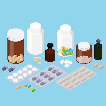 Набор фармацевтических препаратов. плоский изометрический. лекарственные таблетки. таблетки в упаковке. стеклянная бутылка таблеток и лекарств. детские витамины. векторная иллюстрация.