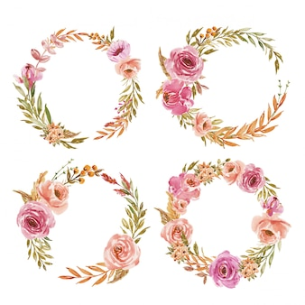 結婚式招待状のピンクと桃の水彩花の花輪のセット