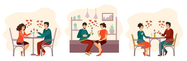 사랑에 남자와 여자의 초상화, 로맨틱 커플의 컬렉션 흰색 절연의 집합입니다.