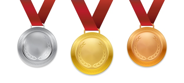 빨간 리본 일러스트와 함께 현실적인 3d 챔피언 골드 실버 및 브론즈 메달 세트