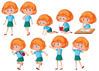A set of red hair girl