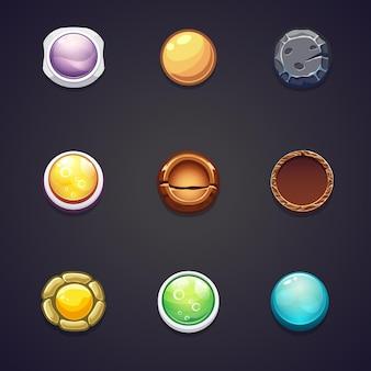 웹 디자인 및 컴퓨터 게임을위한 다양한 재료의 둥근 버튼 세트