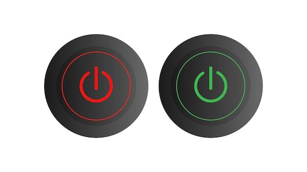 丸いオンとオフのボタンのセット