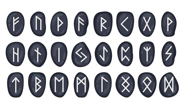 黒い石のルーン文字のセットfuthark神秘的な秘教の神秘的な魔法のシンボル