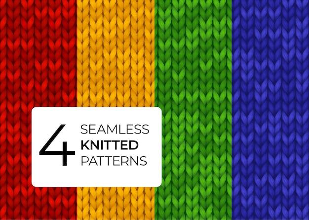 밝은 포화 색상의 원활한 니트 패턴 세트. 다채로운 현실적인 니트 질감