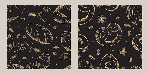 베이커리 제품과 함께 완벽 한 패턴의 집합입니다.