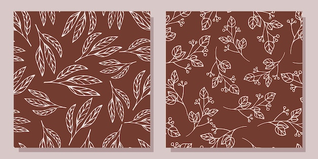 식물을 가진 완벽 한 패턴의 집합입니다. 조각 스타일.