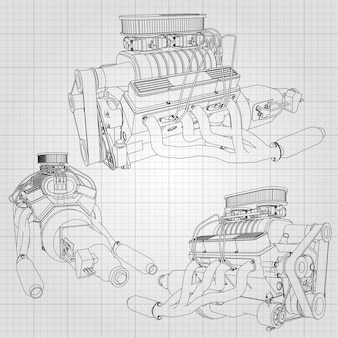 여러 유형의 강력한 자동차 엔진 세트. 새장에 하얀 시트에 검은 선이 그려진 엔진
