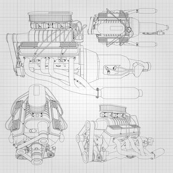여러 유형의 강력한 자동차 엔진 세트. 새장에 하얀 시트에 검은 선이 그려진 엔진 프리미엄 벡터