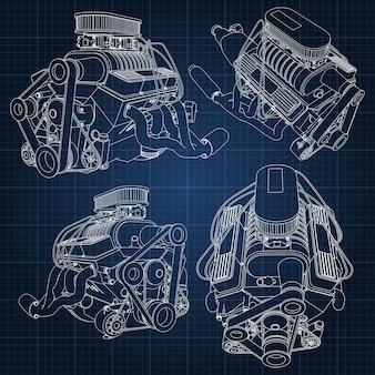 いくつかのタイプの強力な車のエンジンのセット。エンジンは檻の中の紺色のシートに白い線で描かれています。