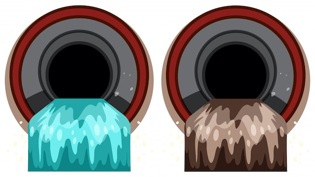 Комплект канализационной трубы с загрязнением