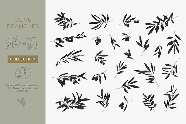 シンプルなスタイルで明るい背景に分離されたオリーブの枝のシルエットのセット。ロゴ、パターンなどを作成するための果物や葉とオリーブの木の枝のベクトルイラスト