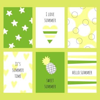 노란색 흰색과 녹색의 여름 요소가있는 6 개의 다른 카드 세트