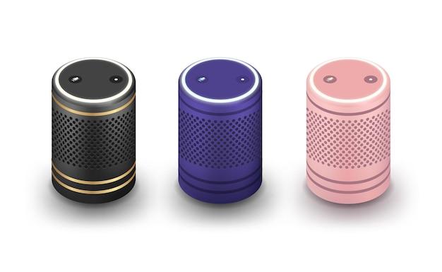 音声アシスタント付きのスマートスピーカーのセット Premiumベクター