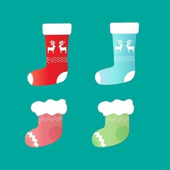 毛皮と鹿の靴下サンタのセット。クリスマスの飾り。