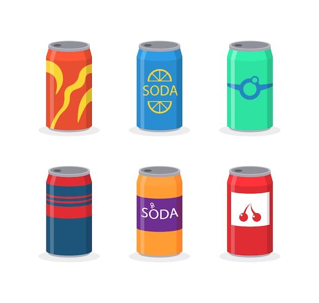 플라스틱 및 알루미늄 포장의 소다 음료 세트. 향이 다른 탄산수. 병에 담긴 음료, 비타민 주스, 탄산수 또는 탱크에 담긴 천연 수, 플라스틱 병. 삽화.