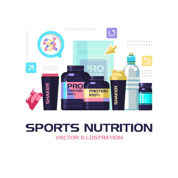 Набор спортивного питания и аксессуаров для занятий спортом.