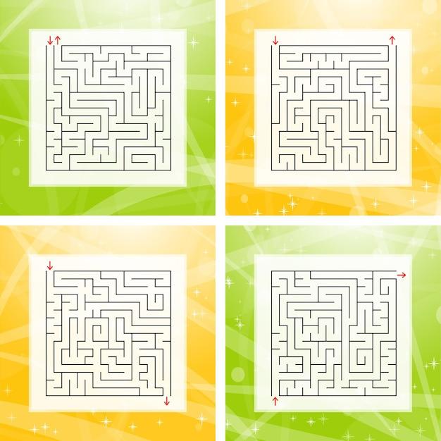 Набор квадратных лабиринтов. Premium векторы