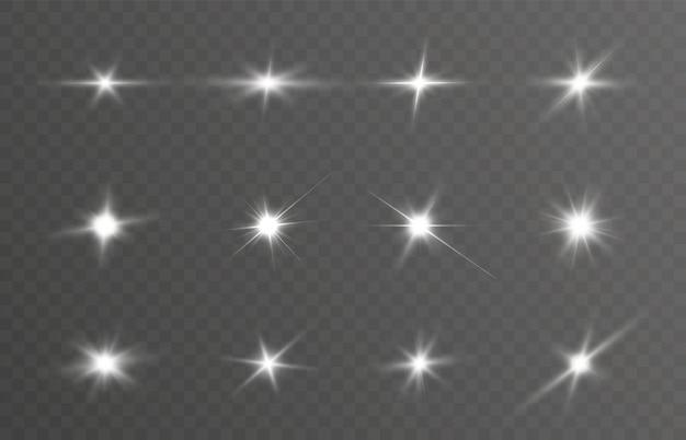 Набор звезд и световых эффектов для векторных иллюстраций