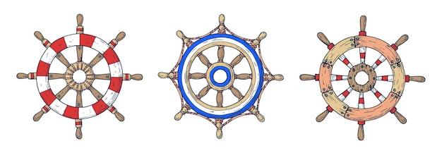 Комплект рулевых колес для корабля.