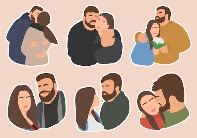 Набор наклеек романтическая влюбленная пара. люди обнимаются, целуются, улыбаются. премиум векторы.