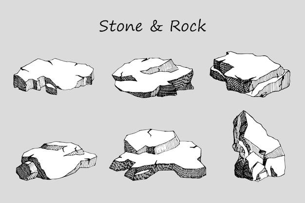石と岩のセット。手描きのスケッチ。