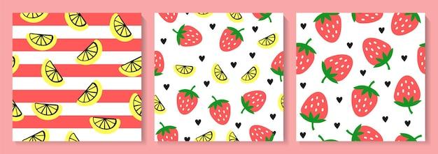 딸기와 레몬 원활한 패턴 세트