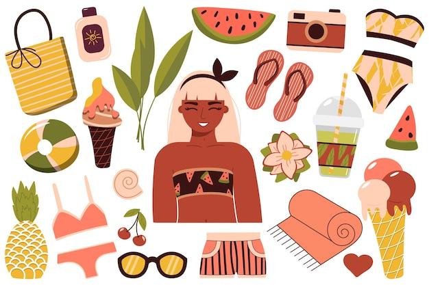 Набор летних вещей для пляжа. путешествие в солнечную страну. счастливая девушка в бикини отдыхает на море. женщина в купальнике загорает и отдыхает у воды. летний отдых. вектор
