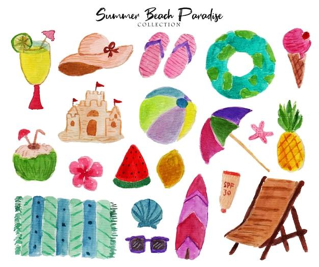 여름 분위기의 수채화 컬렉션 세트