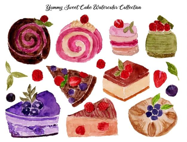 甘いケーキの水彩画のセット