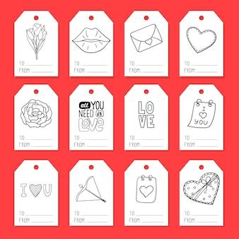 발렌타인 데이를 테마로 한 요소로 선물 포장용 태그 세트. 낙서 스타일의 일러스트레이션은 손으로 그린 것입니다. 흑백 그림, 흰색 배경에 고립.