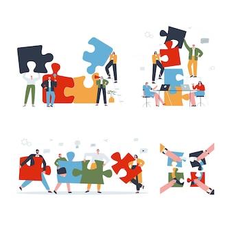 Набор концепций совместной работы визуализация общения и сотрудничества в компании работа