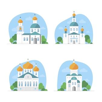 모스크, 회당, 교회, 불교 사원이있는 다른 종교의 사원 세트.
