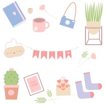 Набор вещей для уютного дома книга чайная свеча вазы носки векторная иллюстрация